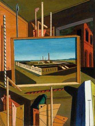 Giorgio de Chirico:  Interno metafisico (con grande officina), fine 1916 Olio su tela, cm 96,3 x 73,8 Stoccarda Staatsgalerie © by SIAE 2015