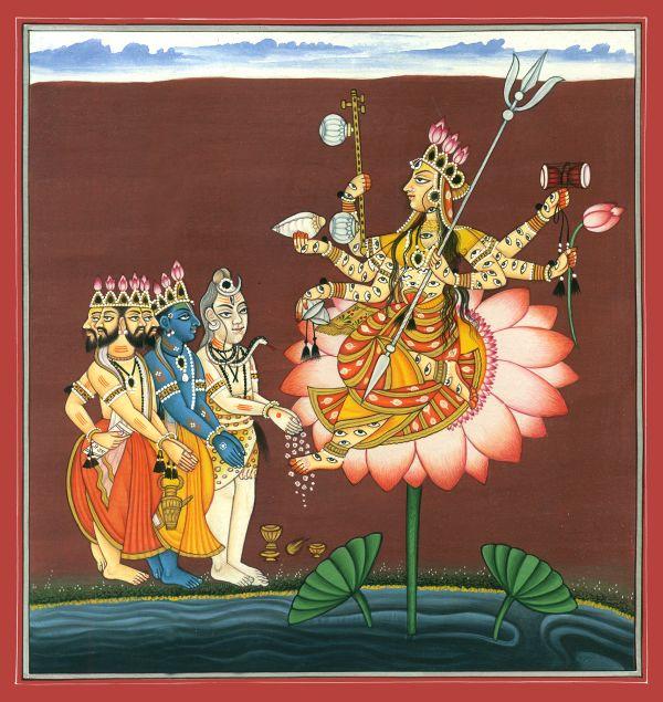 Brahma Visnu Siva con Devi