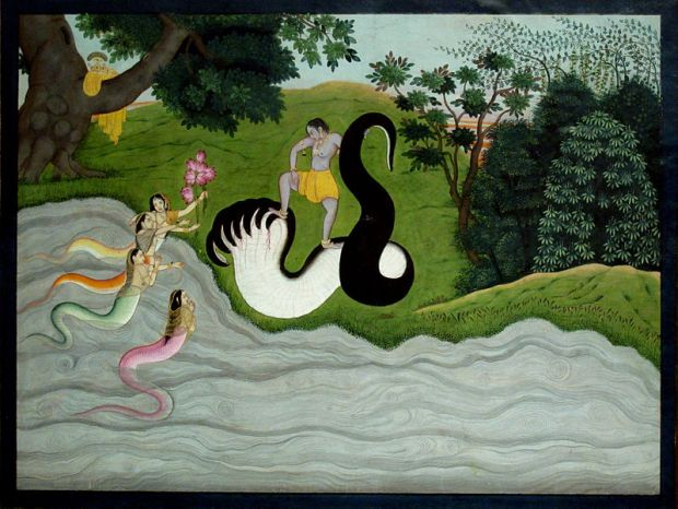 Kaliya's wifes and Krishna. Kangra c.1785-90. Painting_of_India