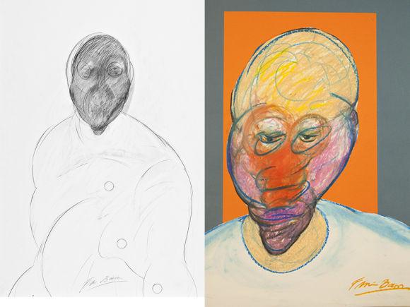 Francis Bacon, Autoritratto, matita su carta e Autoritratto, pastello e collage su carta