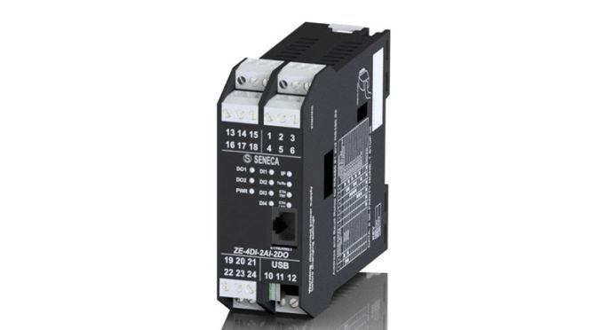 Modulo I/O con 4 ingressi digitali, 2 ingressi analogici, 2 uscite digitali a relè Seneca Srl